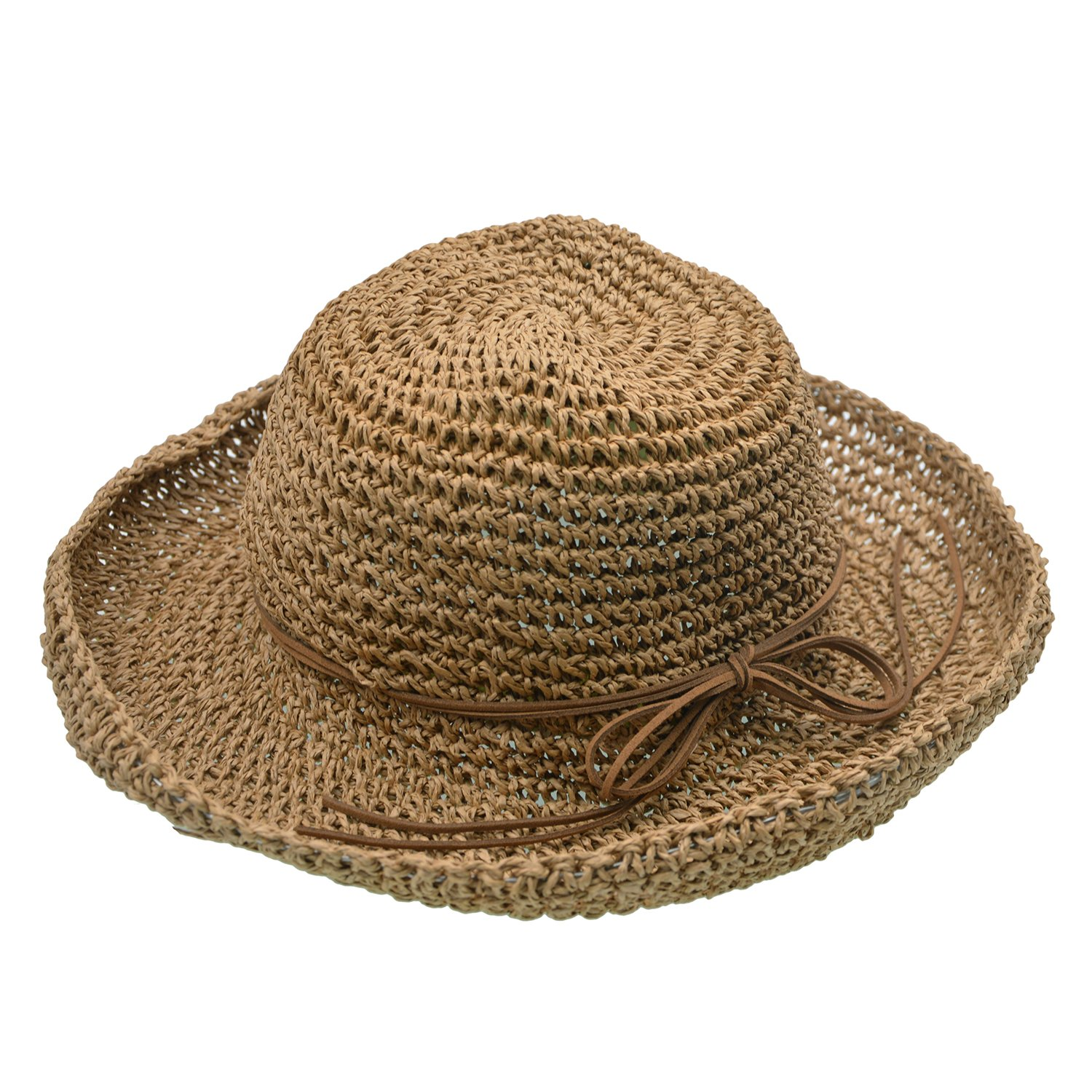 UPhitnis Foldable Sun Hats For Women | Straw Hats For Summer | Weave Texture & Wide Brim For Beach Hiking Walking Traveling
