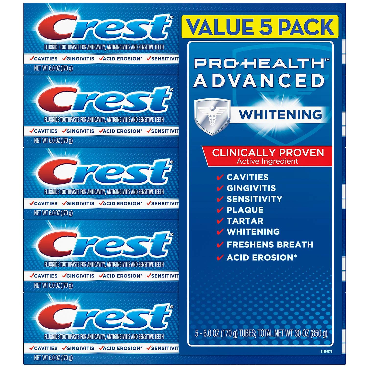 Crest Pro-Health Advanced Whitening Power Toothpaste (6.0 Ounce, 5 Count)