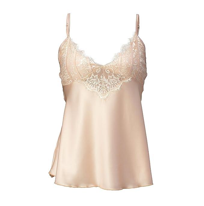 954421d5916f ANNY Women s Sexy Lace Lingerie Satin Pajama Cami Short Set Beige Size S