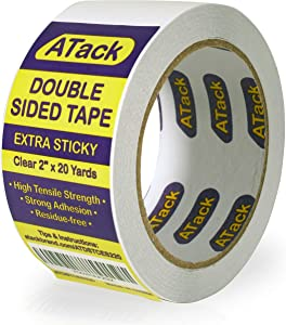 ATack Extra Sticky Clear Double-Sided Tape, Removable, 2-Inch x 20-Yards - Wall Safe Heavy-Duty Double Sides Self Sticky Wall Fabric Tape for Wood Templates, Furniture, Leather, Curtains and Craft