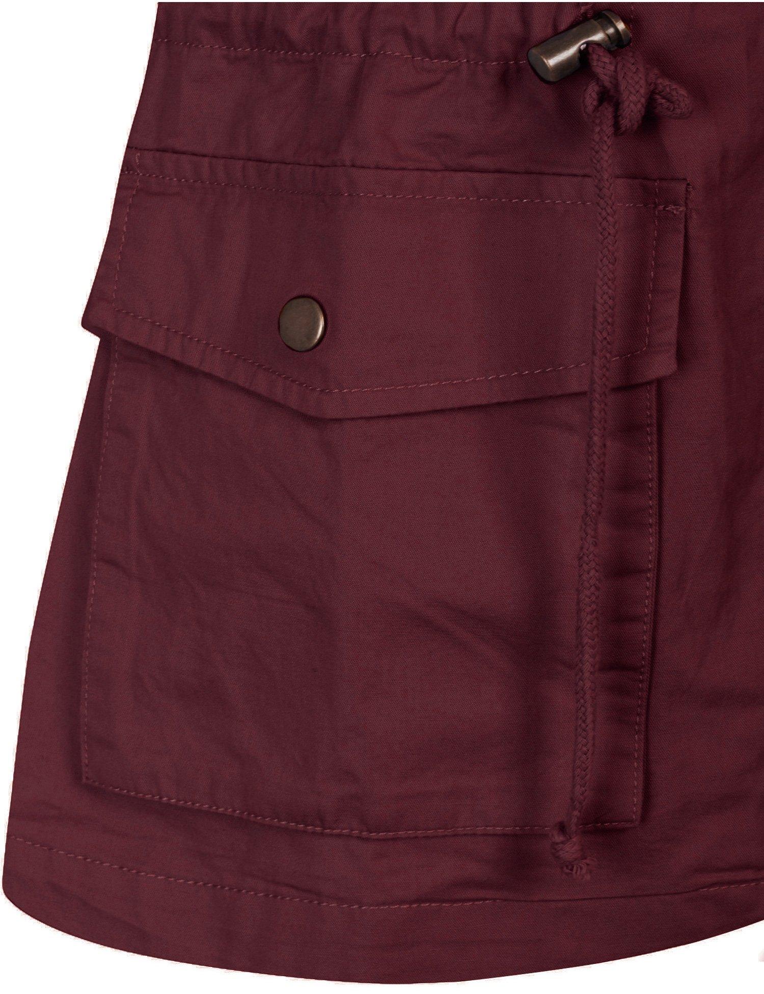 KOGMO Womens Military Anorak Safari Utility Vest with Hood-3X-WINE by KOGMO (Image #6)