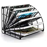 PAG Fan-Shaped Desktop File Organizer Shelf Metal Wire Mail Holder Letter Sorter Magazine Rack, Black