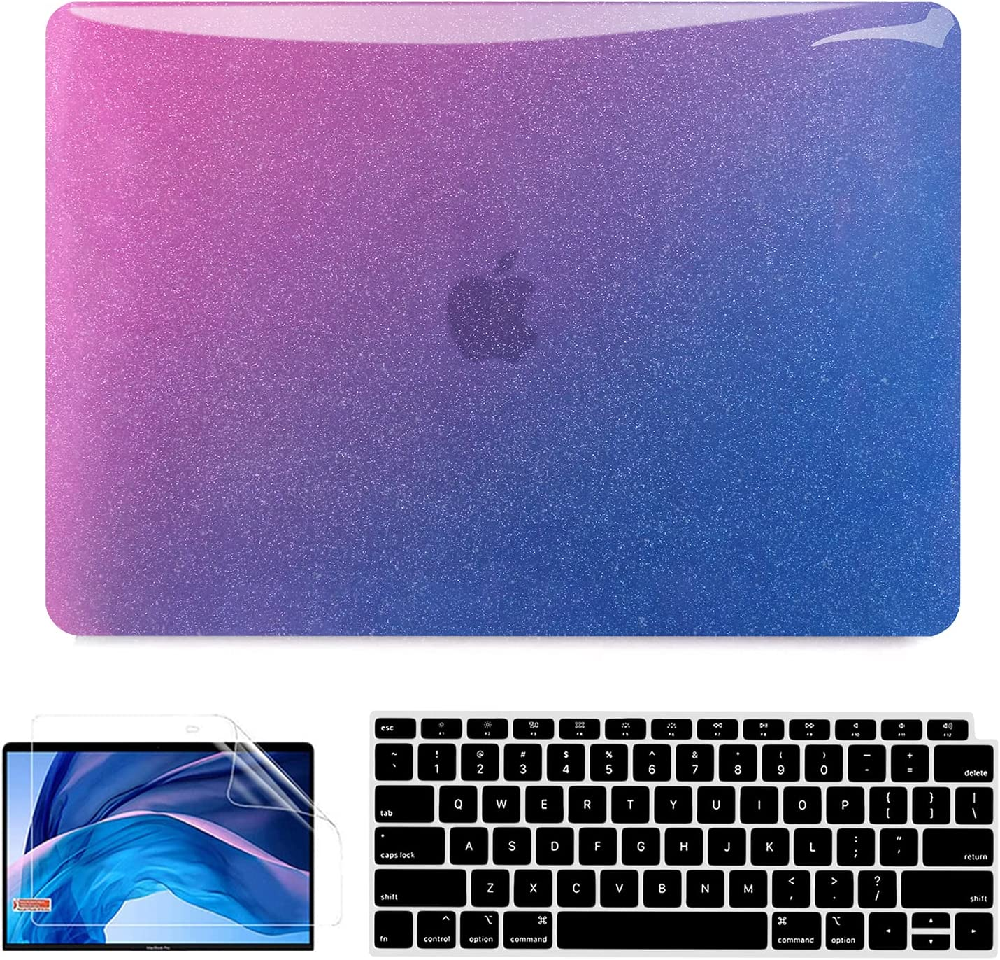 MacBook Air 13 Inch Case 2020 2021 2019 2018 Release A2337 M1 A2179 A1932, Glitter MacBook Air Case Laptop Hard Shell + 2 Keyboard Cover + Screen Protector Compatible for Apple MacBook Air Touch ID