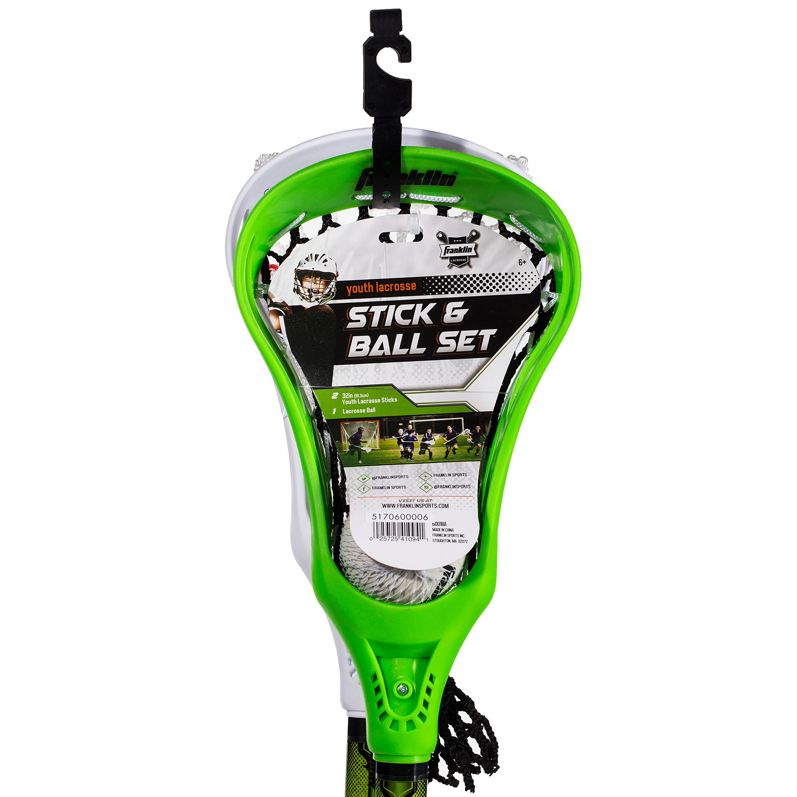 Franklin Sports Lacrosse 2 Stick and 1 Ball Set, Green by Franklin Sports (Image #5)