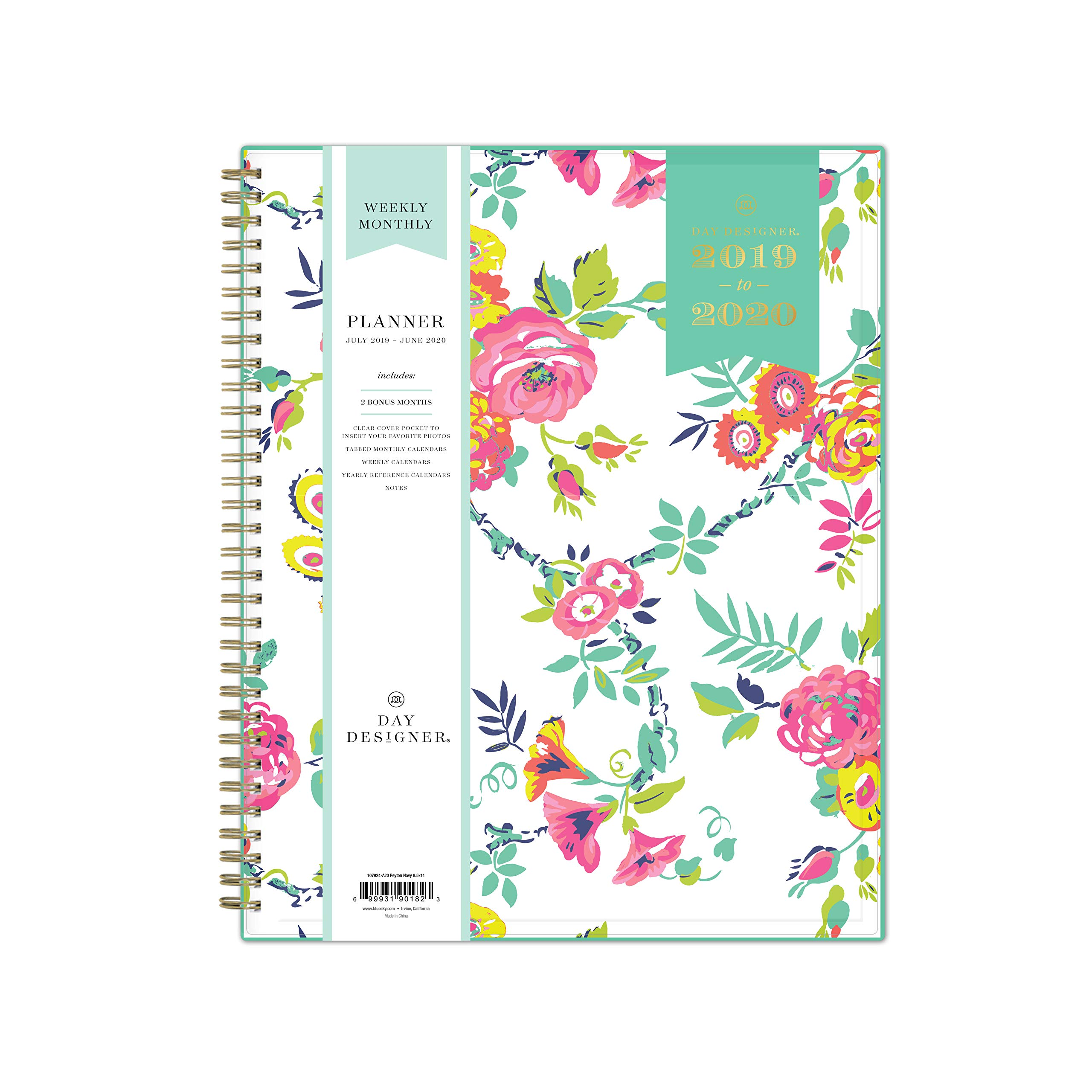 Day Designer for Blue Sky 2019-2020 Academic Year Weekly & Monthly Planner, Flexible Cover, Twin-Wire Binding, 8.5'' x 11'', Peyton White