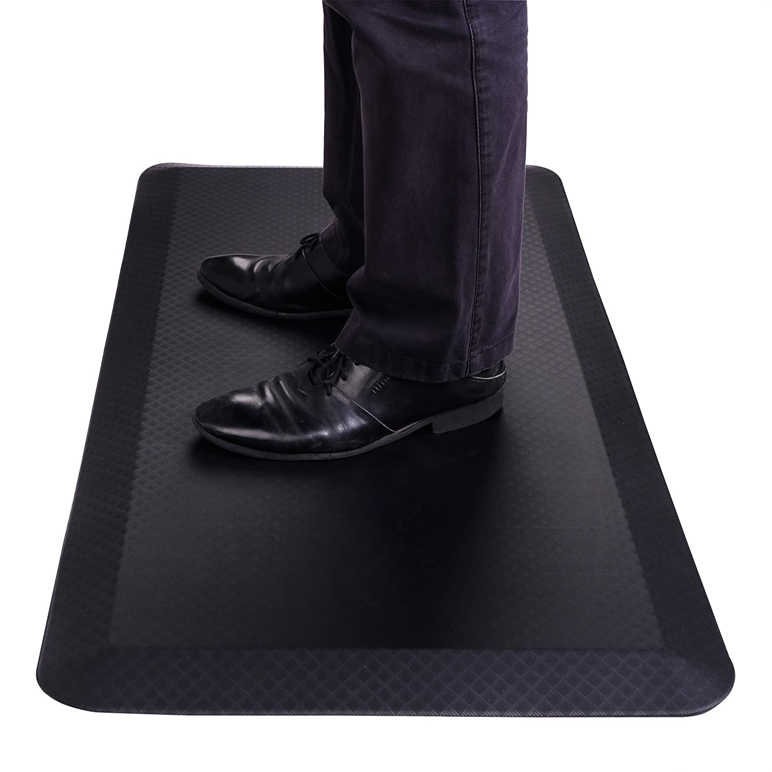 "FlexiSpot Standing Desk Mat 20 in x 39 in Non-Slip Comfort Kitchen Floor Mat 3/4"" Anti-Fatigue Black Comfort Kitchen Floor Mats for Standup Desks Kitchens Shipped Flat Midnight Black"