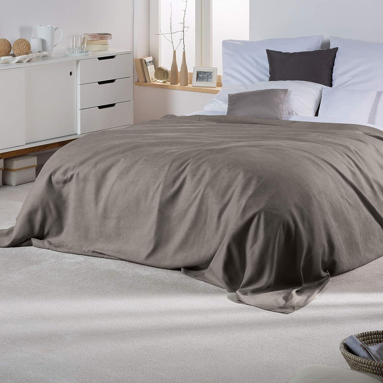 Grey Blanket Beautissu Romantica Throw 210 x 280 cm Large Sheet Warm Suede Optic Lightweight Sofa Throw