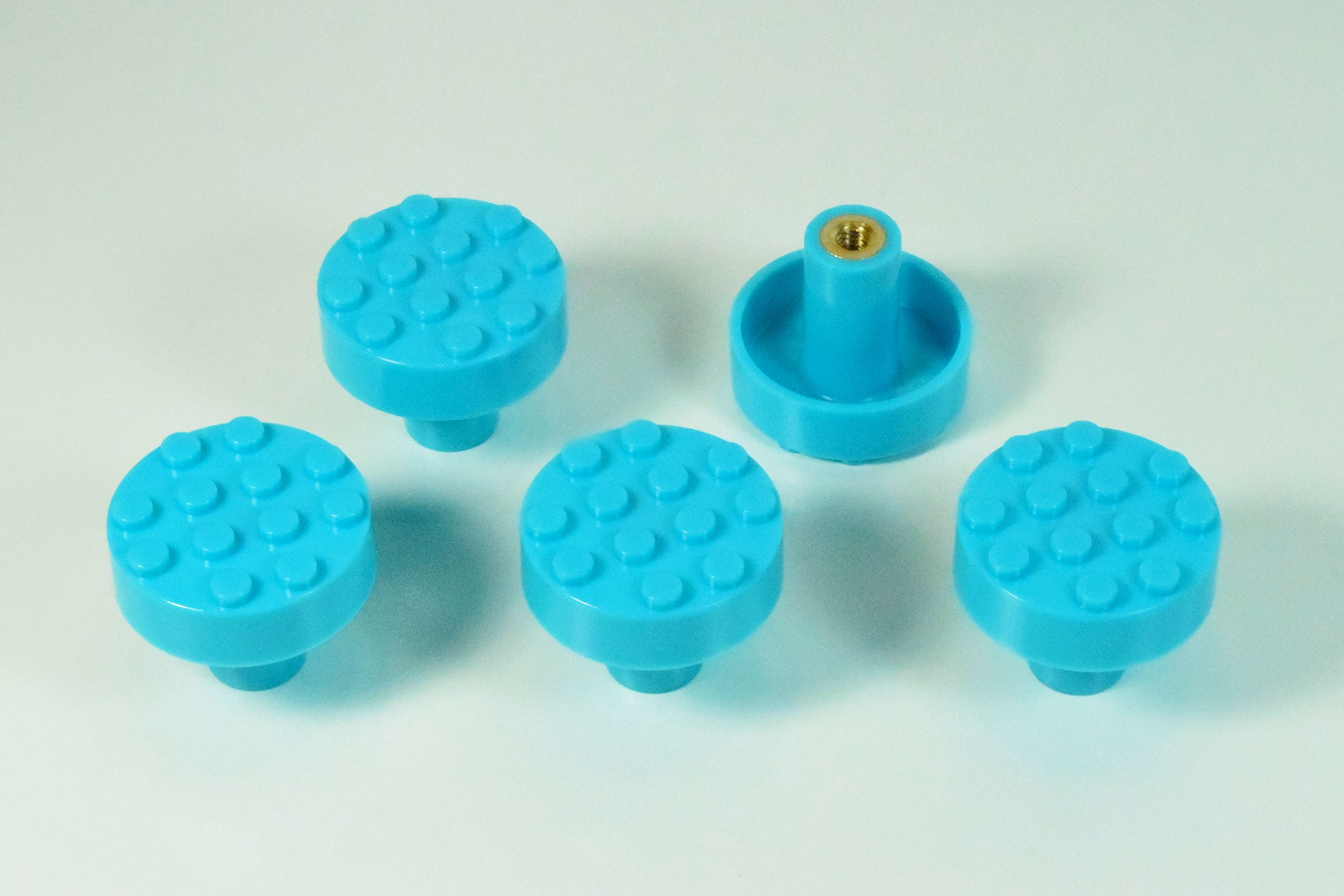 Set of 5 Build-On Brick Knobs, Gem Colors (Turquoise)