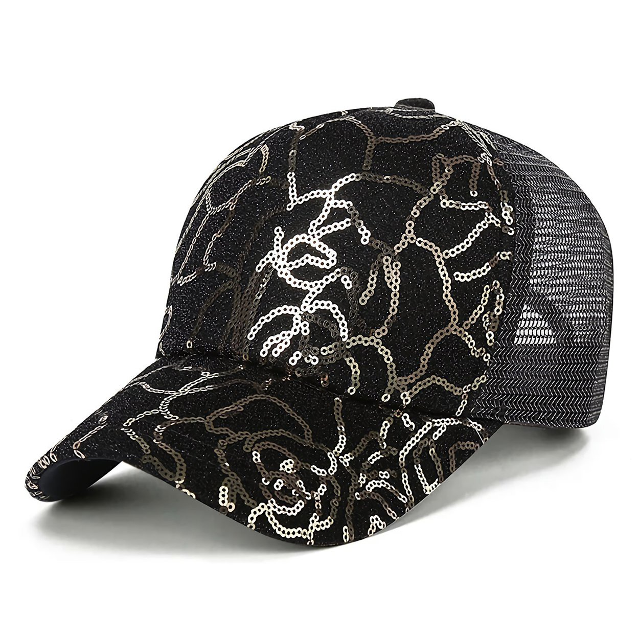0265708b4e1b1 Baseball Cap with Ponytail-Glitter High Ponytail Hat Sequins Messy Buns  Trucker Ponycaps Dad Hat Black - B at Amazon Women's Clothing store: