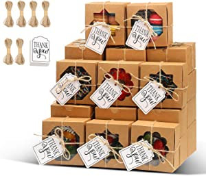 KPOSIYA 60 Pcs Brown Bakery Boxes with Window 4x4x2.5 Inches Cookie Boxes Kraft Paper Brown Gift Box for Pastries, Cookies, Pie, Donuts, Treat Box with Twine and Thank You Tag (60, Brown-3 Windows)