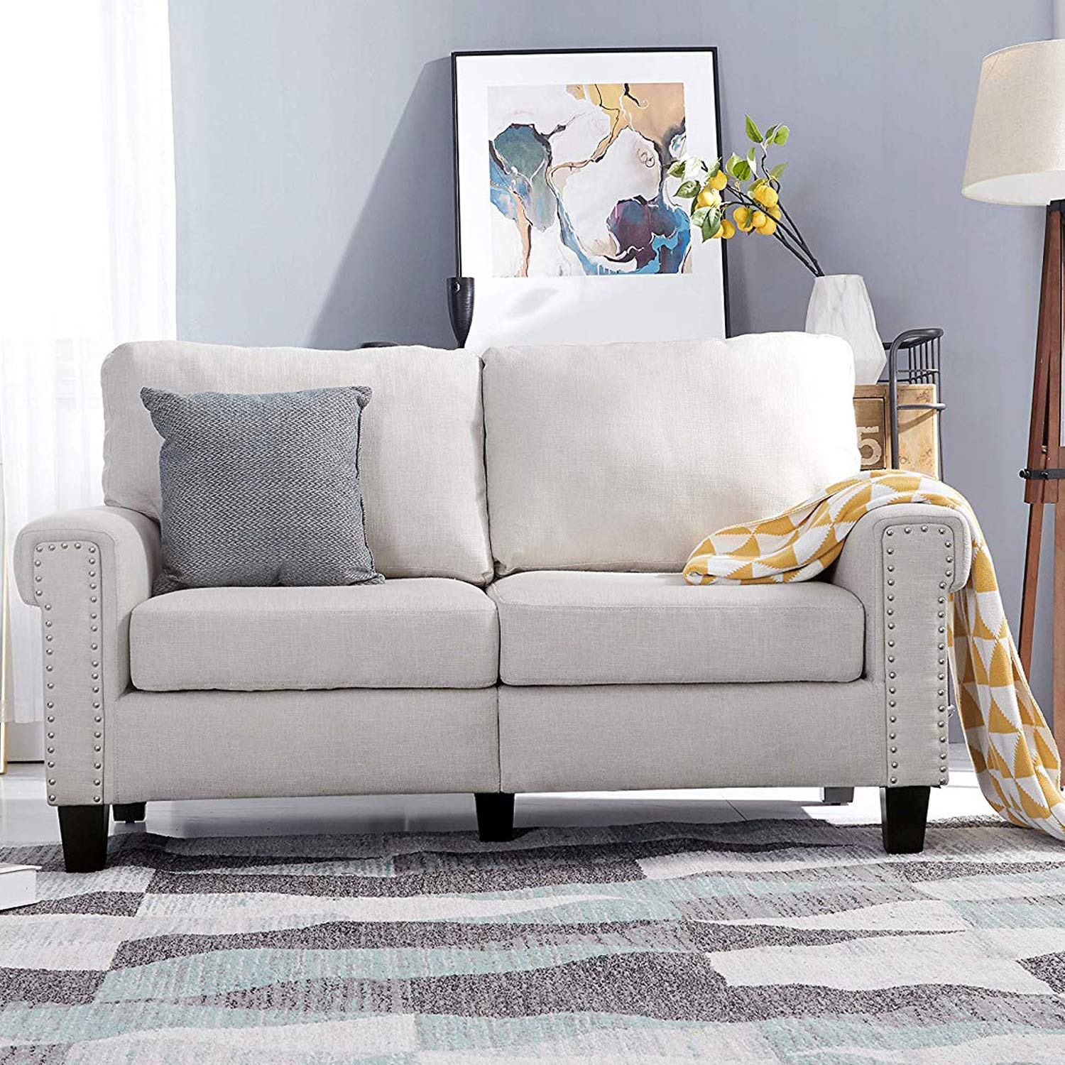 Top Space Loveseat Couch Upholstered Modern 2-Seat Sofa Simple Style Arm Chair Linen Fabric Furniture Living Room(White) by Top Space