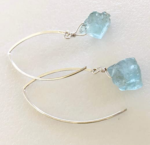 f7f87b884 Amazon.com: Raw Aquamarine Earrings, Natural Aquamarine Nuggets, Aquamarine  Gemstones, March Birthstone, Bridal Earrings, Sterling Silver.: Handmade