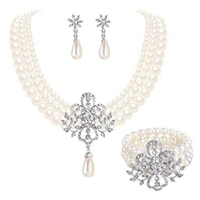 26f830dbbe EleQueen Women's Silver-Tone Simulated Pearl Crystal Victorian Style Flower  Bridal Necklace Earrings Bracelet Set