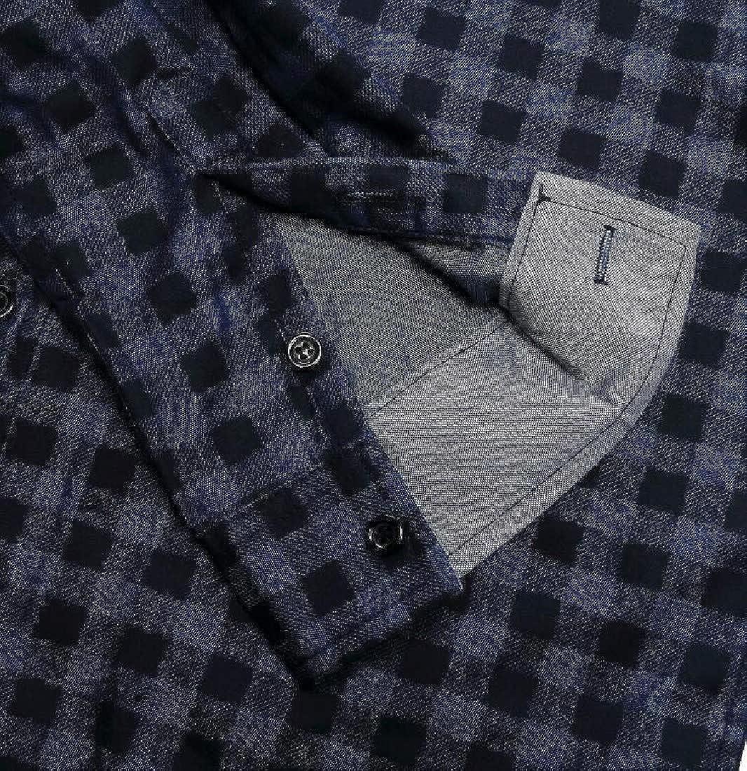Andopa Men Button Down Long Sleeve Leisure Plaid Flat Collar Western Shirt