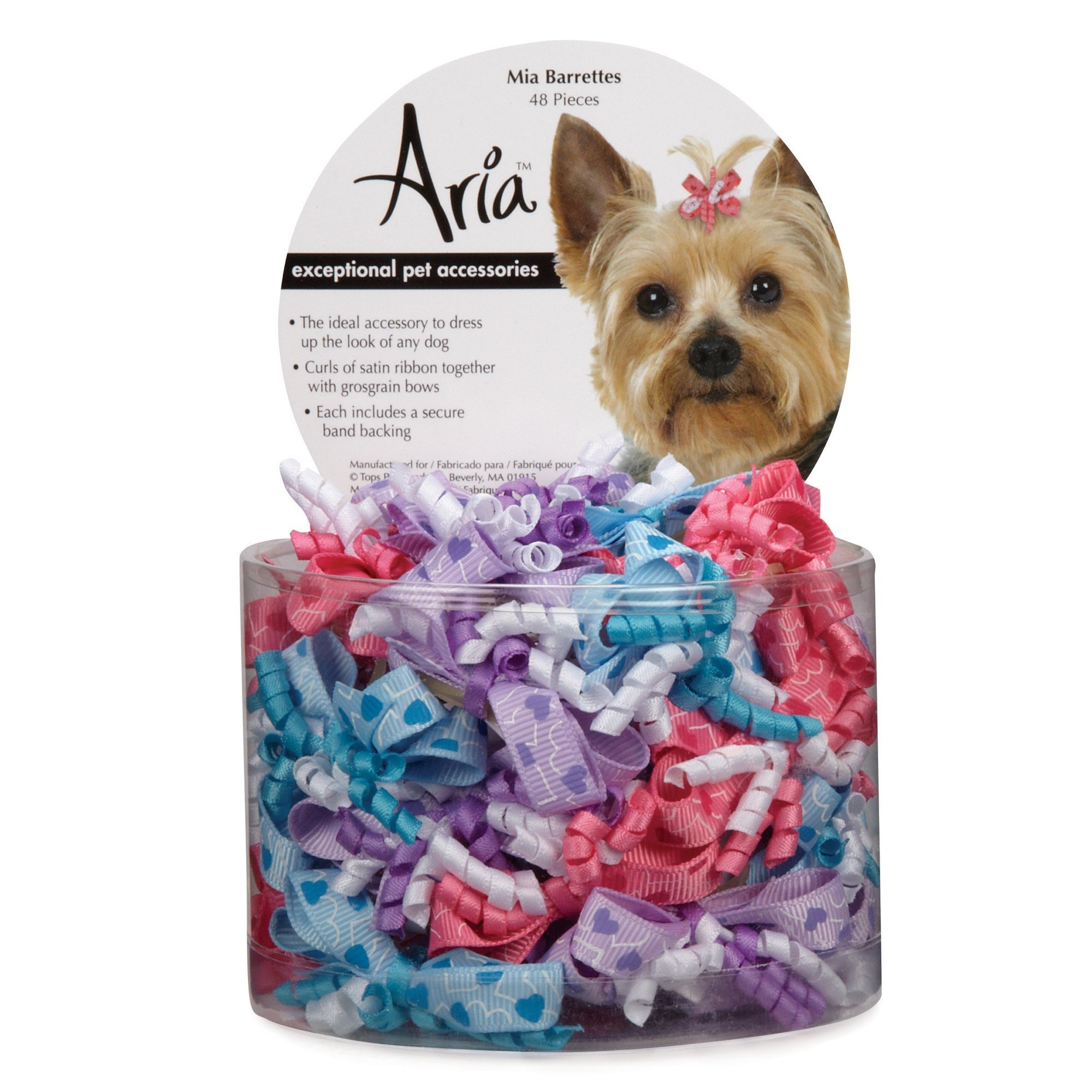 Aria Mia Ribbon Barrettes for Dogs, 48-Piece Canisters