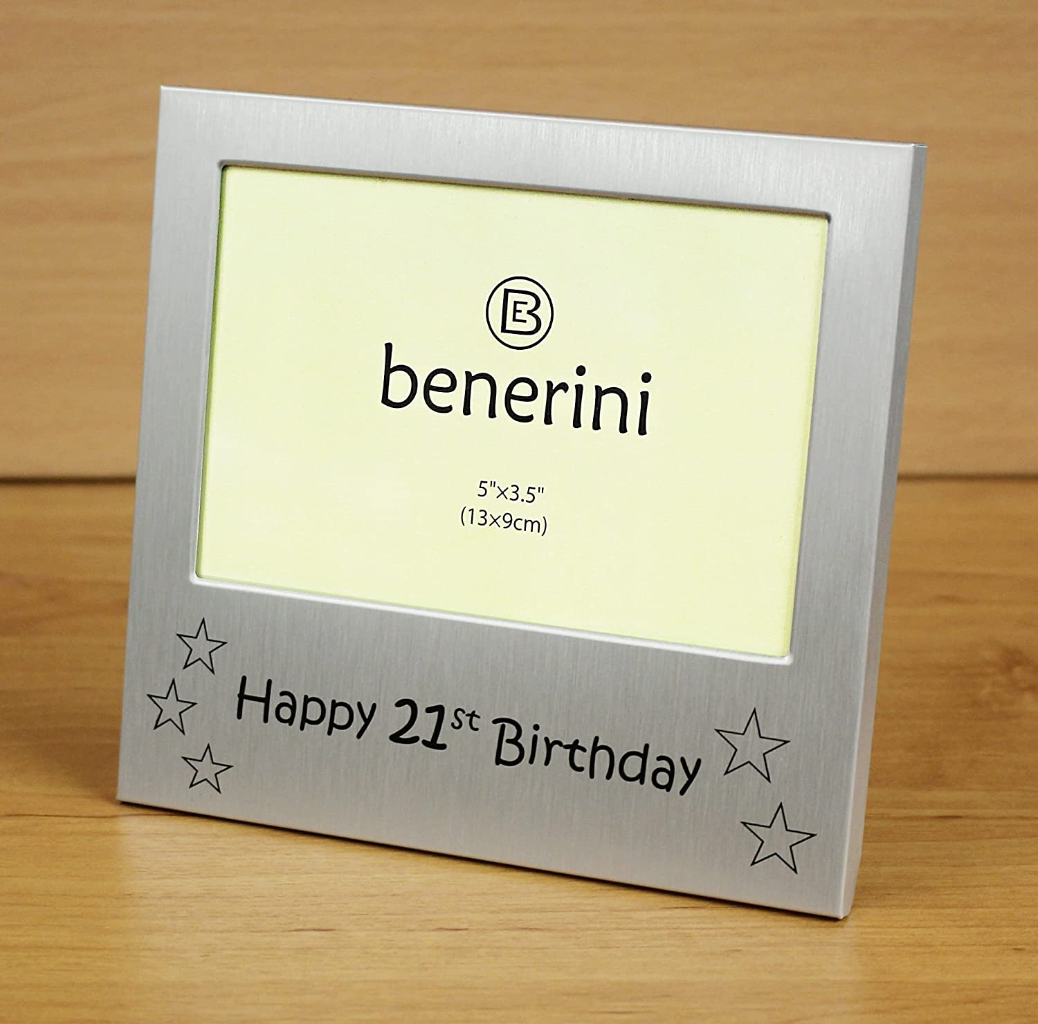 00-CY5FN0-38 13 x 9 cm Photo Size 5 x 3.5 Inches - Brushed Aluminum Satin Silver Color benerini Happy 21st Birthday Photo Frame Gift
