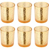 """Runflory S/6 Antiqued Mercury Glass Votive Candle Holder, 3.35""""-H Golden Crackled Tealight Candle Holders - Handmade Speckled Gold Table Decorative Candle Centerpieces for Home Decor Wedding Party"""