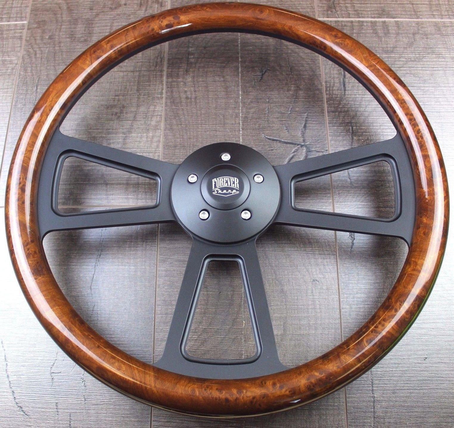 Black Muscle Steering Wheel 18'' Rig (Freightliner, Kenworth, Peterbilt, Volvo)''