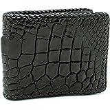 D'SHARK Luxury Crocodile Skin Leather Bi-fold Short Wallet (Black)