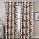 H.VERSAILTEX Thermal Insulated Blackout Window Room Grommet Top Extra Long Curtains-52 inch Width 108 inch Length-Set of 2 Panels-Taupe Red Geo Pattern