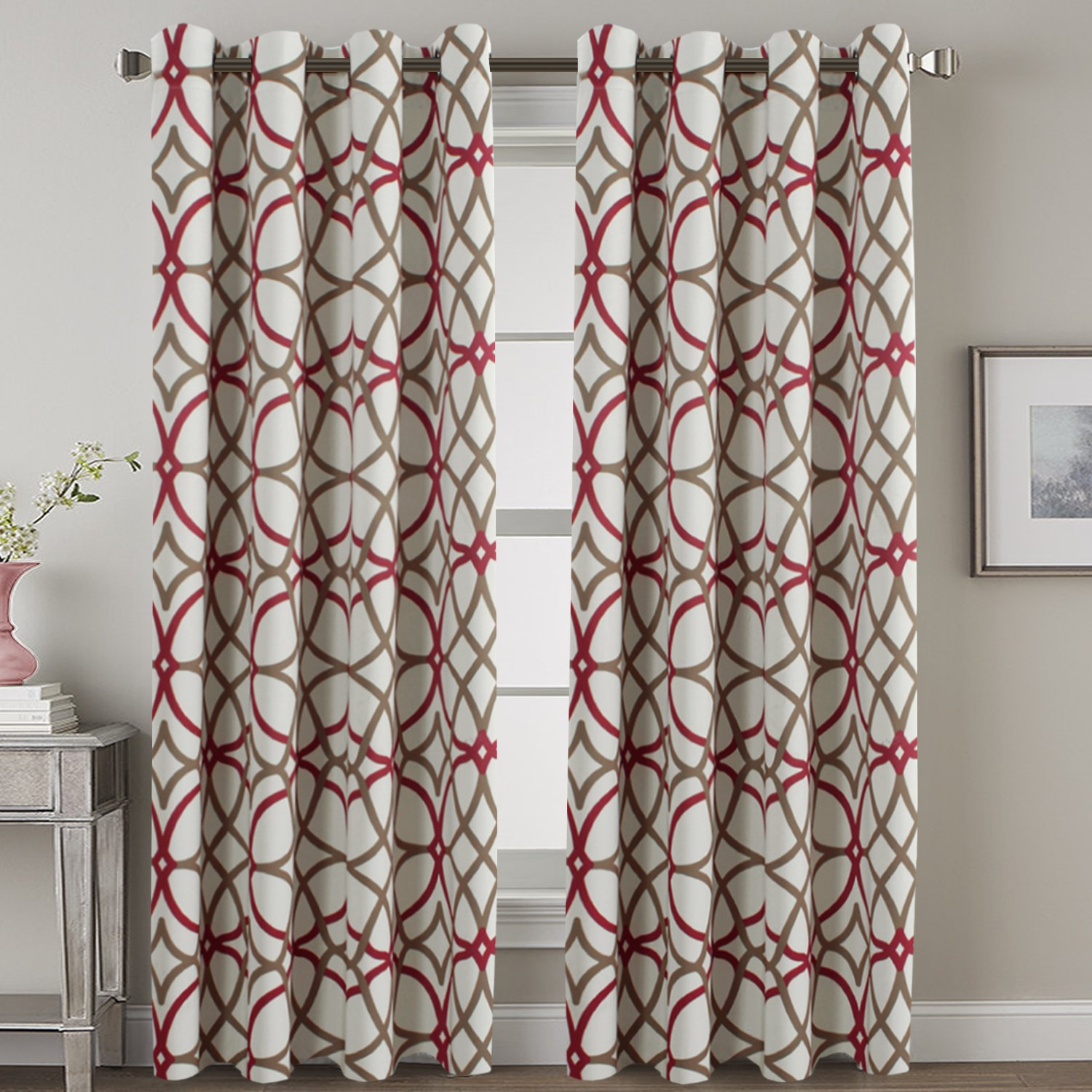 "H.VERSAILTEX Print Thermal Blackout Curtains Living Room Curtains 108 inches Long Grommet Window Treatment Curtains for Sliding Glass Door Elegant Taupe and Red Geo Pattern - Set of 2-52"" W x 108"" L"