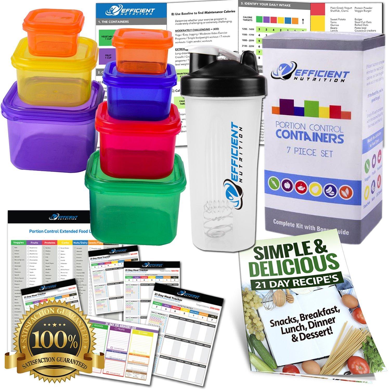 Porción Control Kit de recipientes (7) con Proteína Coctelera Taza ...