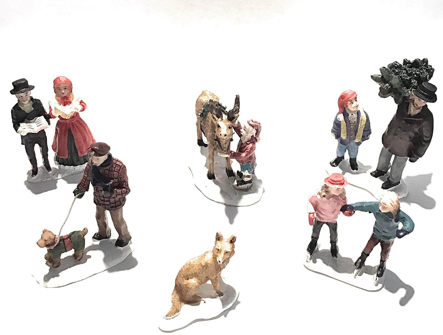 Man and Boy carrying Christmas Tree and a Reindeer with Elf Fox DIY Christmas Village Miniature 6piece Villager Accessories Set: Man Walking Dog Couple Caroling Girls Ice Skating