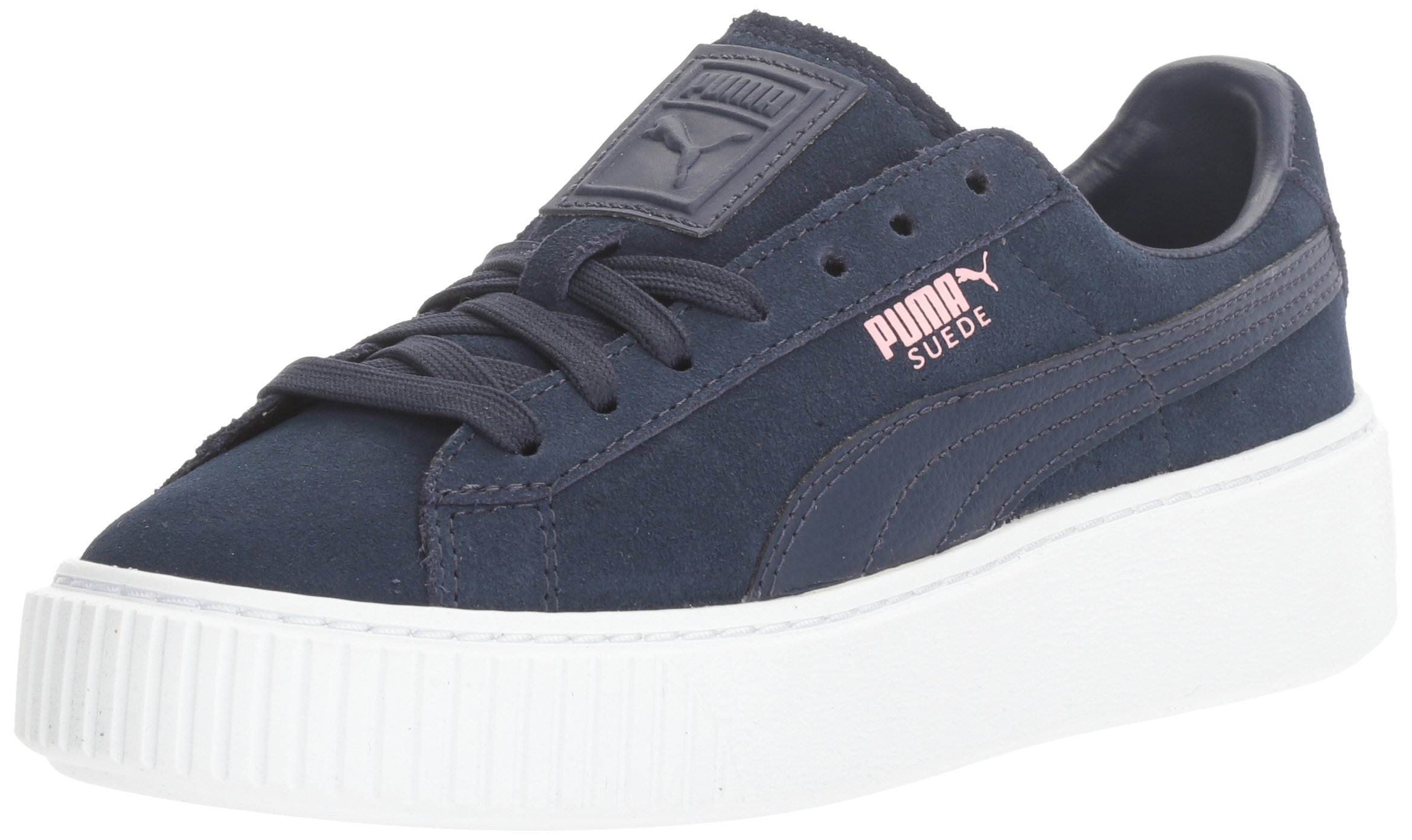 PUMA Girls' Suede Platform Jr Sneaker, Peacoat-Peacoat, 4 M US Big Kid