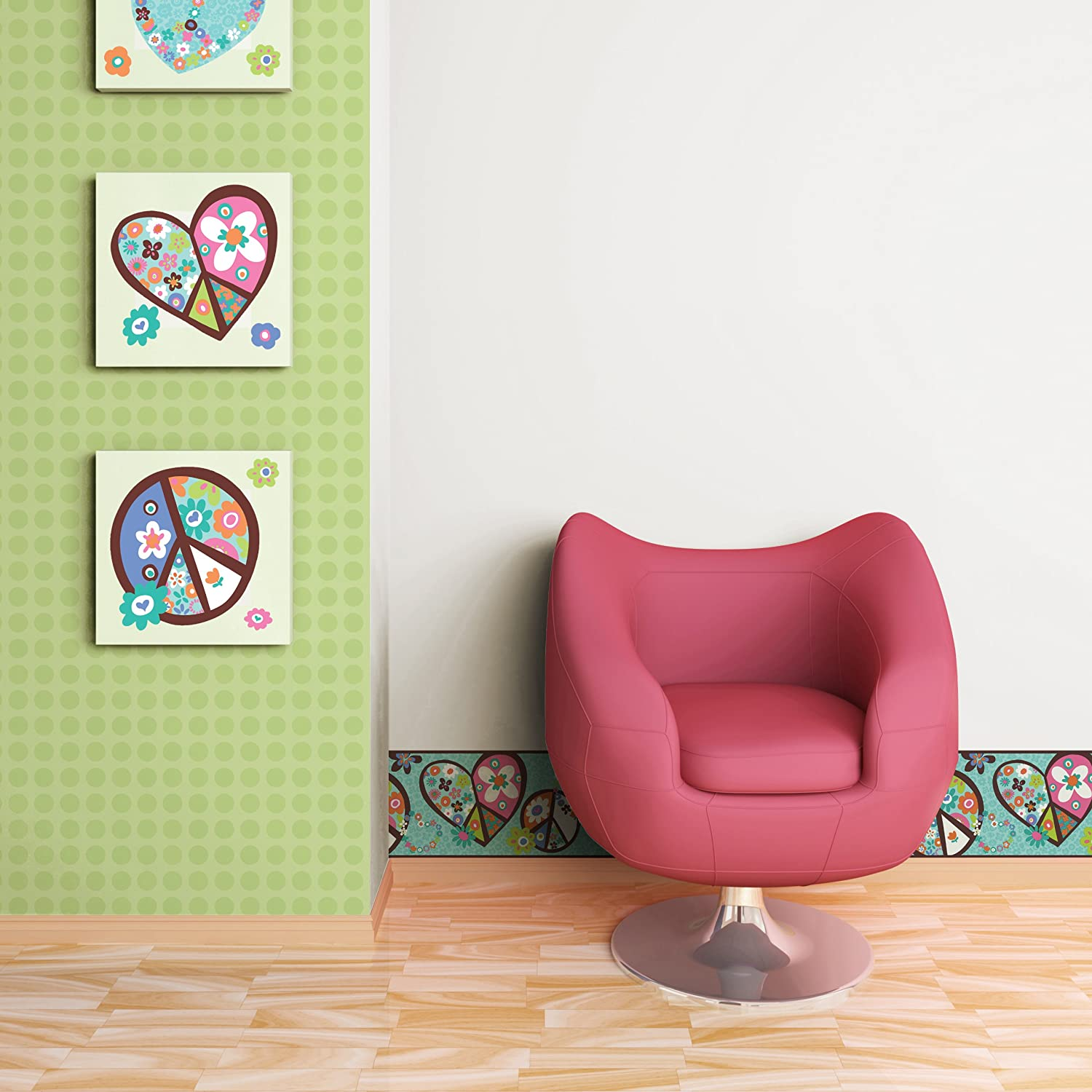 Wall Decals Lime York Wallcoverings Bright Spring Green Wall In A Box WIB1002 Peace and Love Wallpaper