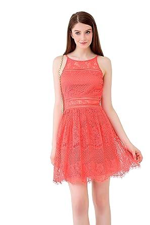 5ca454c64f92 Ultrapink Juniors Designer Allover Lace Halter Illusion Yoke Fit n Flare  Dress, M
