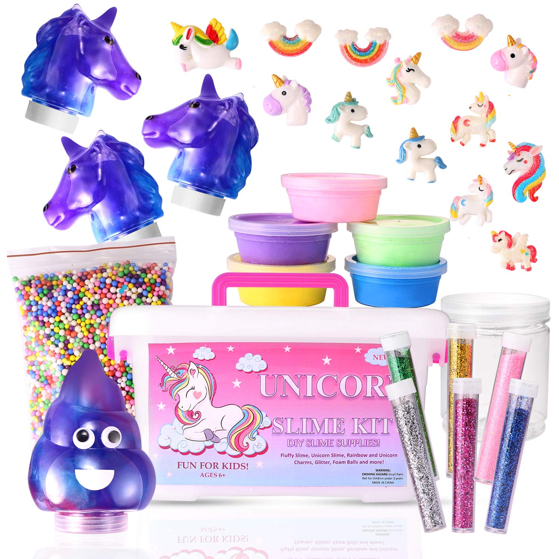Stellaro Unicorn Slime Kit for Girls DIY Fluffy Unicorn Slime Making Kit, 30 Slime Kit Pieces Beads Unicorns Glitter, Charms, Fun Arts and Crafts (Uni1) by Stellaro
