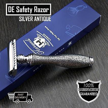 Classic de seguridad maquinilla de afeitar con cuchillas de plata ...