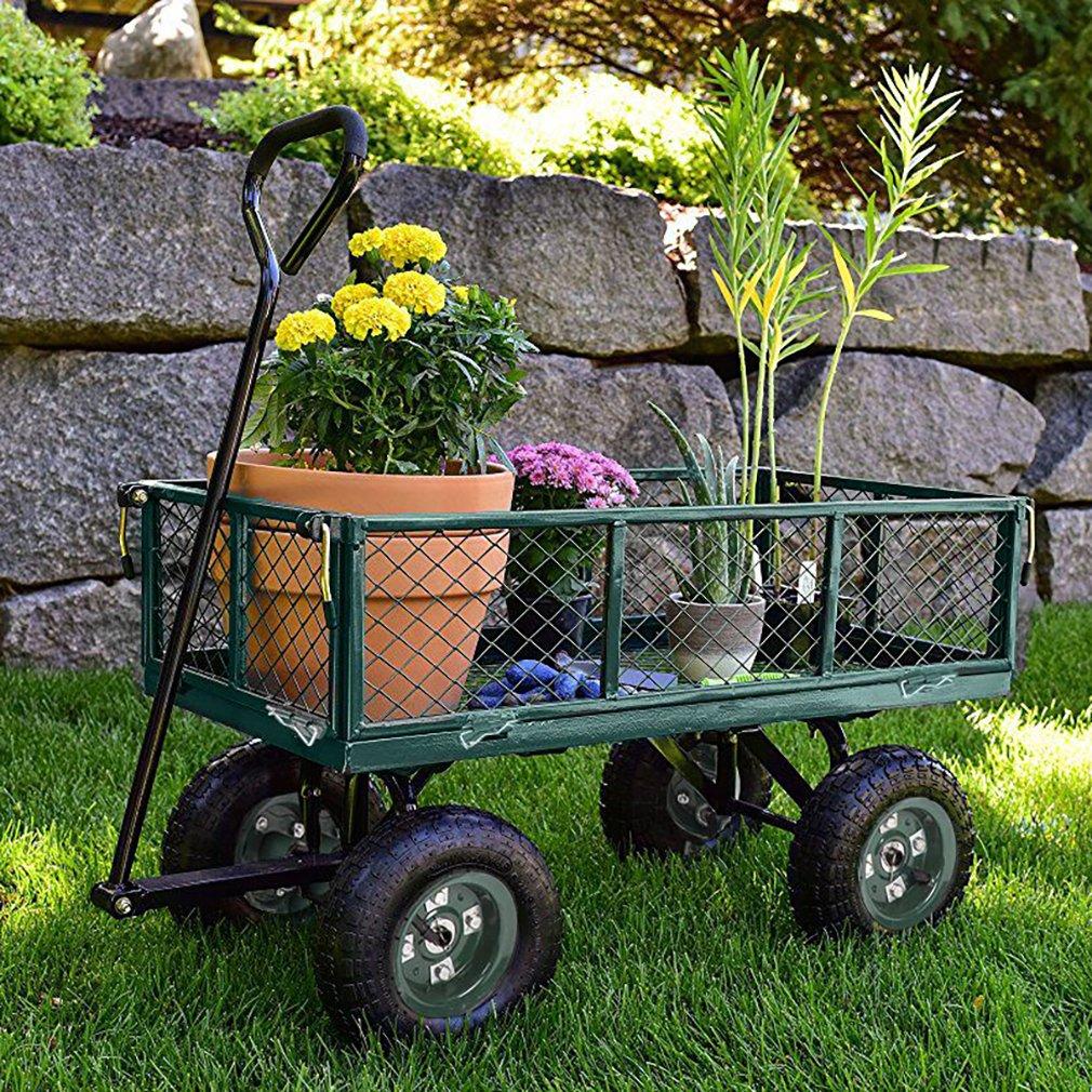 BestMassage Garden Cart Wheelbarrow Dump Wagon Utility Lawn Yard Cart Heavy Duty Steel With Removable Sides,Capacity 400 lbs,Green