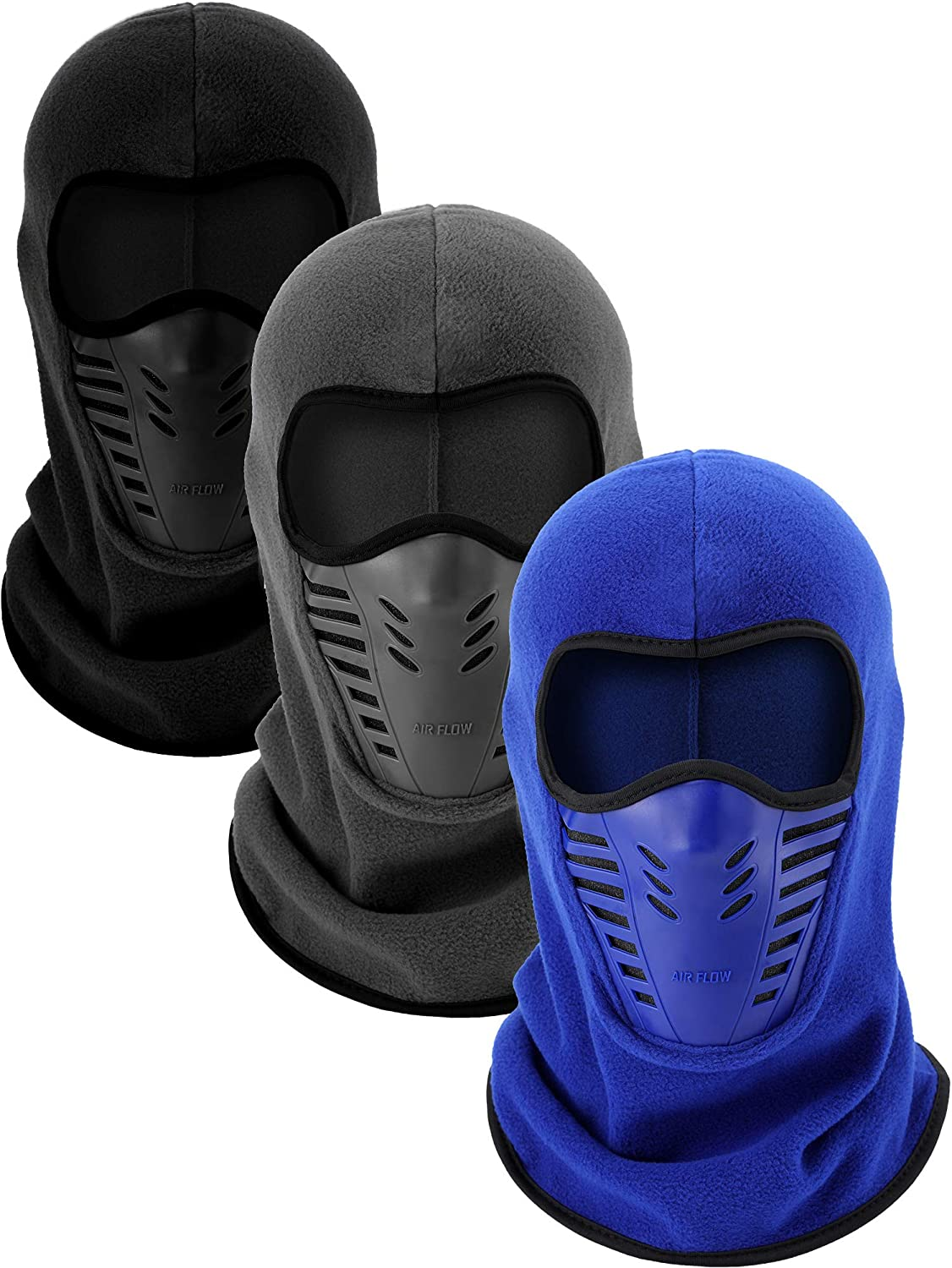 3 Pieces Balaclava Full Face Mask Ski Long Mask Windproof Sports Headwear for Hunting Fishing Activity Supplies
