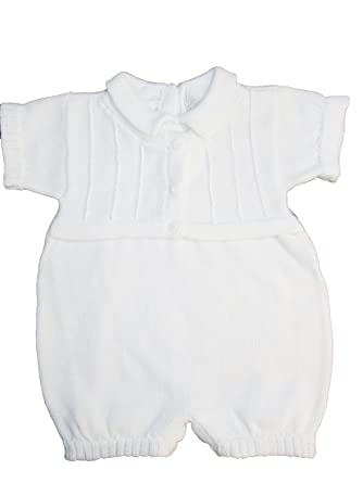 3cc15b118 Amazon.com  White 100% Cotton Infant Baby Boy s Christening Baptism ...