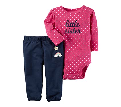 c9ee5d458 Carter s Baby Girls  2 Piece Little Sister Bodysuit Pants Set