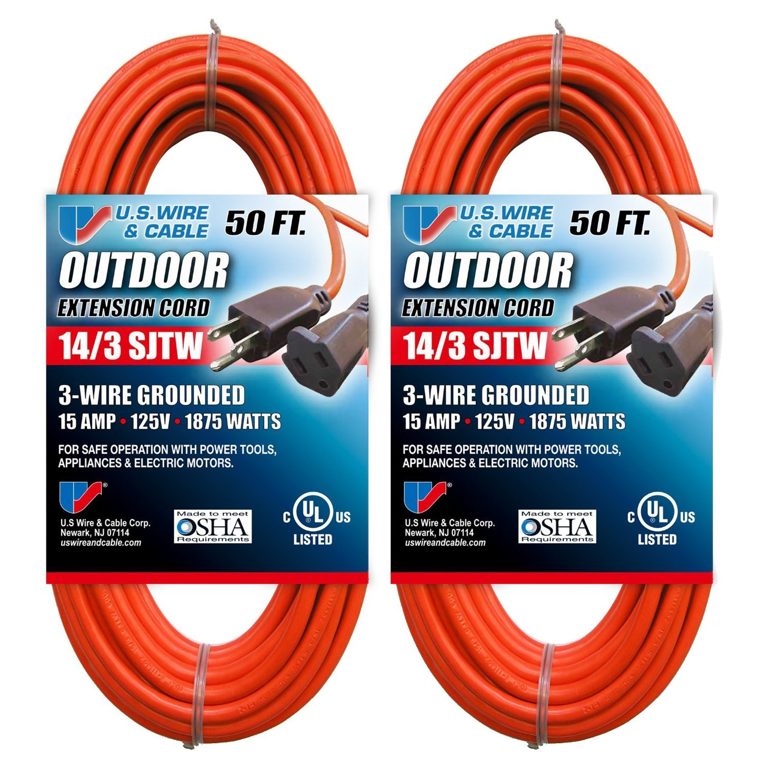 U.S. Wire And Cable 63050 14/3 50-Foot SJTW Orange Medium Duty ...