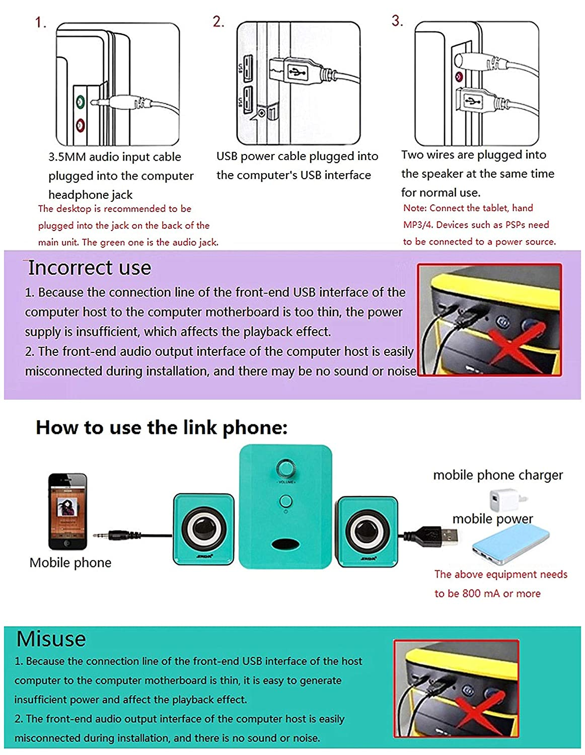 Computer Speaker Usb Small Mighty Multimedia Cell Phone Headphone Jack Wiring Mini For Desktop Laptop Gaming Smartphones Tablets Computers Accessories