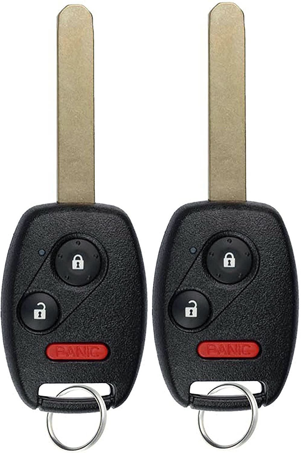 KeylessOption Keyless Entry Remote Control Uncut Car Ignition Key Fob Replacement for MLBHLIK-1T (Pack of 2)