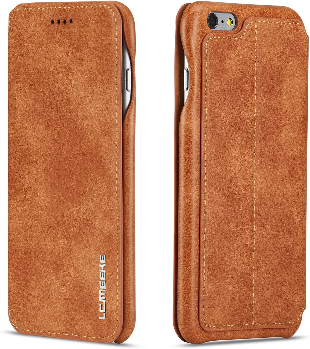 QLTYPRI iPhone 6 Plus Case iPhone 6S Plus Case Vintage Slim PU Leather Case with Credit Card Holder Kickstand Feature Classic Design Shockproof Protective Durable Wallet Case for iPhone 6P 6SP - Brown