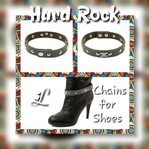 La Loria Mujer cadena de botas Hard Rock Accesorios de la joyería para decorar el calzado - marrón, 1 Par