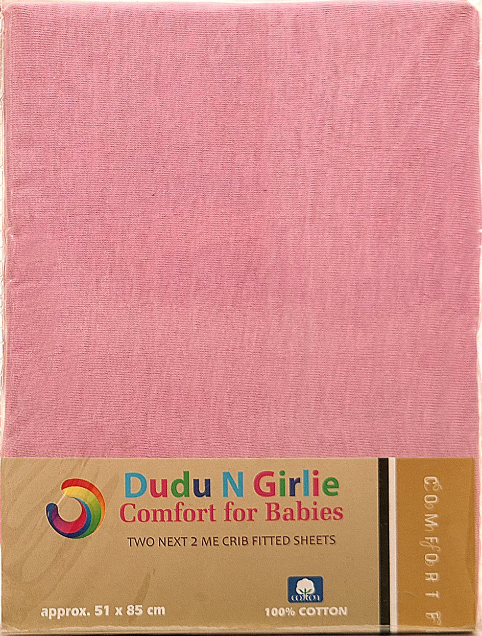 Dudu N Girlie Next2Me Cotton Jersey Fitted Sheets, 51 cm x 85 cm, 2-Piece, Pink Dudu N Girlie Limited B01N04JN36