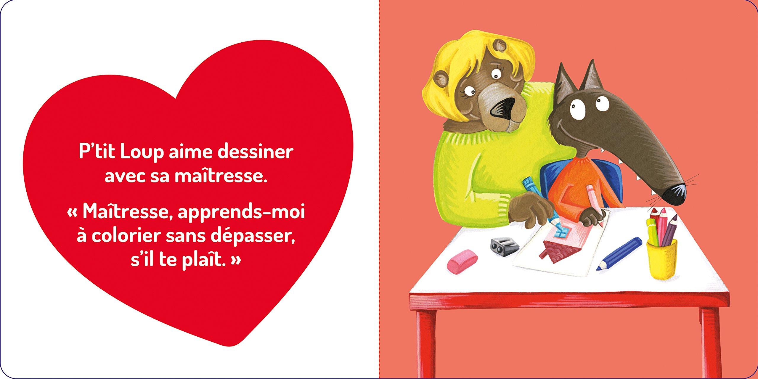 Coloriage Coeur Maitresse.Amazon Fr P Tit Loup Aime Sa Maitresse Orianne Lallemand