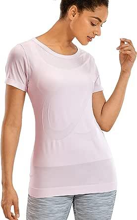 CRZ YOGA Women's Seamless Active Tops Short Sleeve Workout Running Sports Leisure T-Shirt