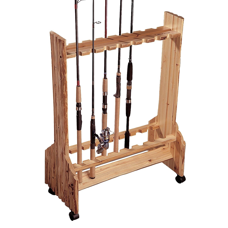 Amazon.com : Rush Creek Creations Rustic Double Sided Rolling 16 Fishing  Rod Storage Rack : Fishing Rod Racks : Sports U0026 Outdoors