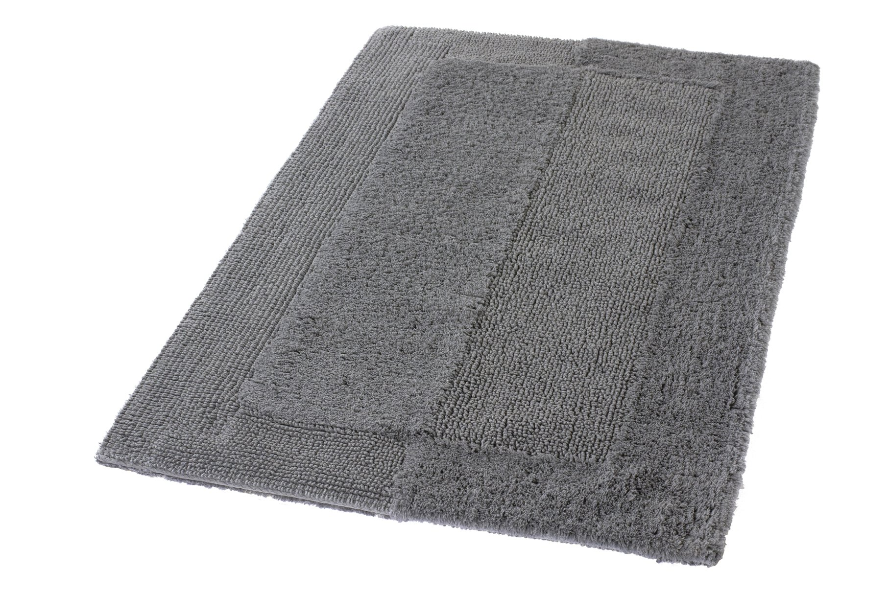 Kleine Wolke Eco Living Havanna Reversible Cotton Bathroom Rug (33.5x59.1in, Slate Grey) by Kleine Wolke