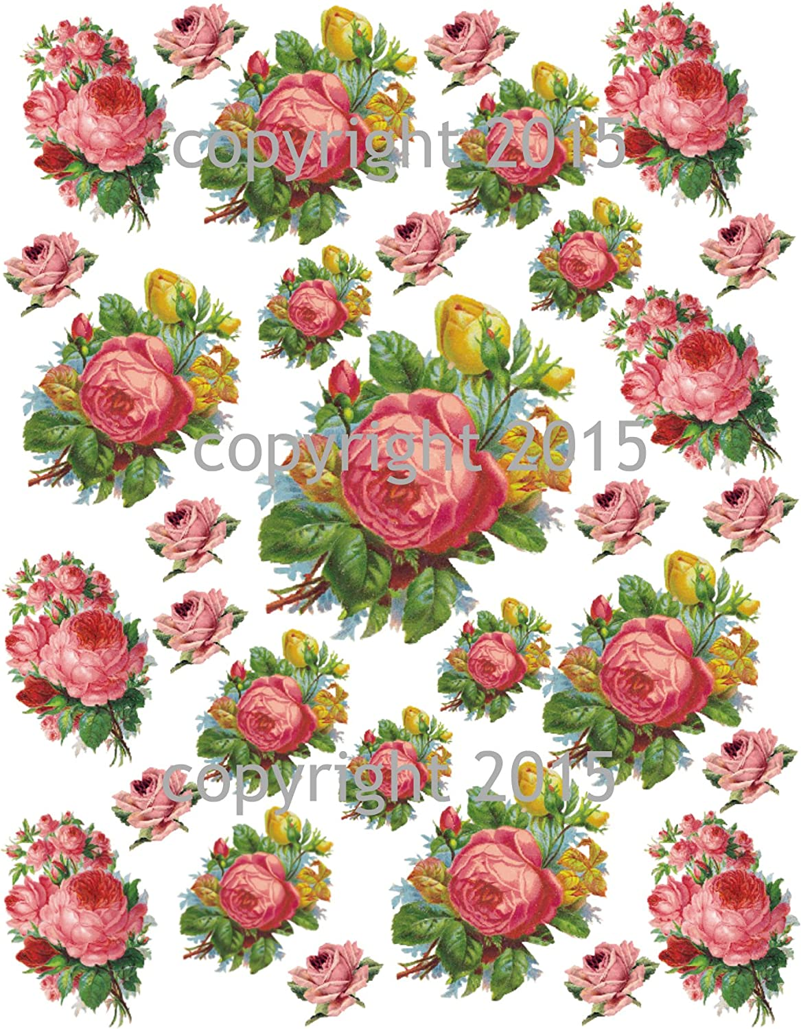 Victorian Pink and White Roses Collage Sheet Printed Collage Sheet Decoupage Altered Art Scrapbook Weddings Victorian Scrap