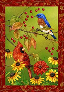Toland Home Garden Birds n Berries 28 x 40 Inch Decorative Fall Autumn Cardinal Bird House Flag