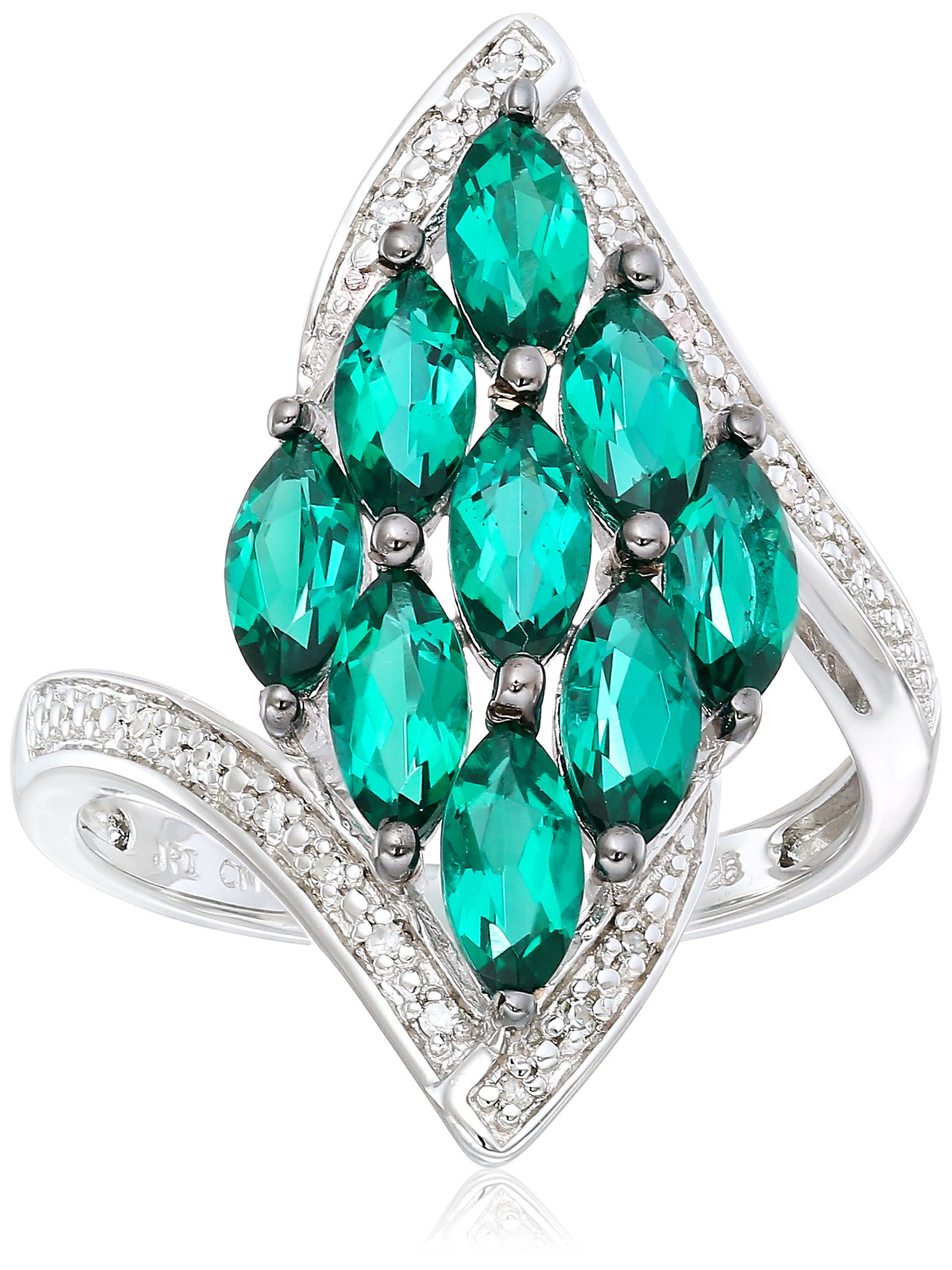 Black Rhodium Plated Sterling Silver Bypass Marquise Created Emerald Diamond Accent Ring, Size 7