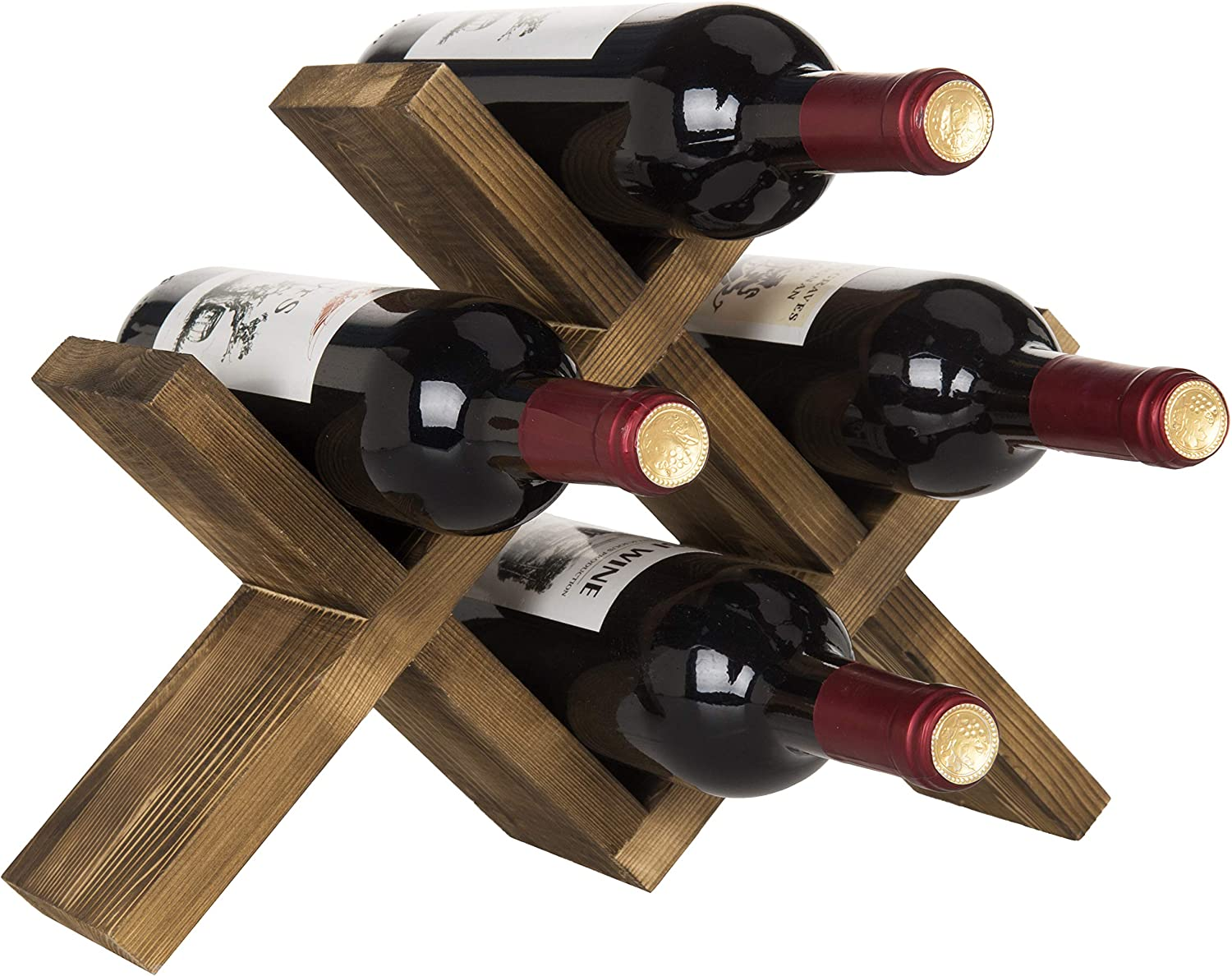 Mygift 4 Bottle Countertop Rustic Brown Wood Wine Rack Kitchen Dining